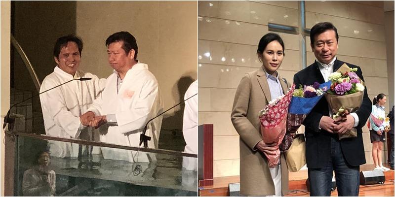 3月24日,張顯耀於台北靈糧堂受洗,由謝明宏牧師施洗(左圖),妻子也到場見證這極具意義的時刻(右圖)。