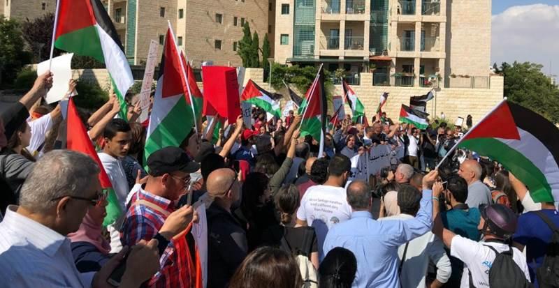 2018年5月14日美國駐耶路撒冷大使館就職典禮之外的抗議活動。