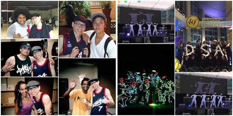 在多間公司參與演出及參與排舞、編舞工作;左圖是2014年Moe到美國學習舞蹈、在跳舞營會拿到奬學金的照片。