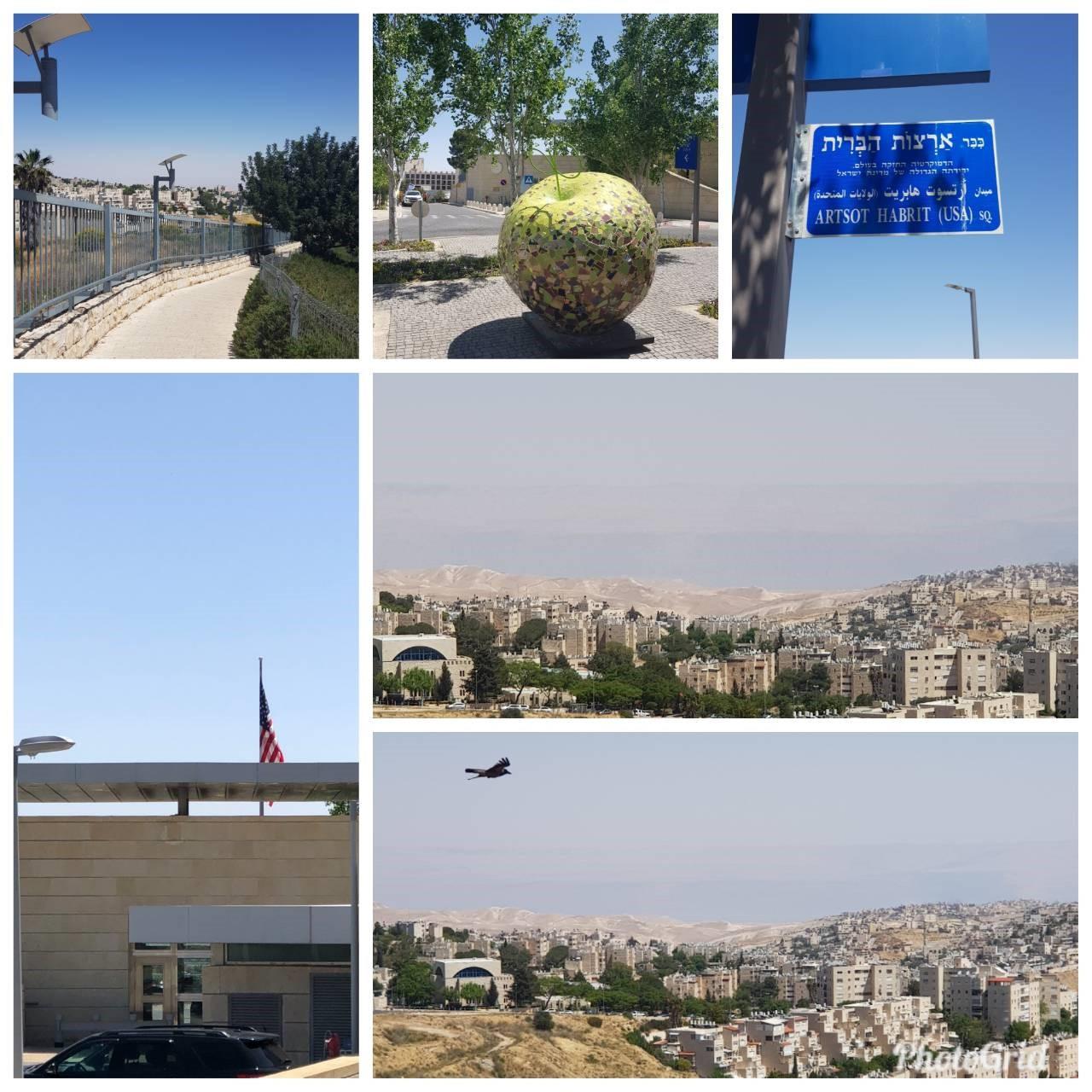耶路撒冷全球華人敬拜中心(CANWF)於4月24日 先來到美國領事館為即將美國使館遷移此地平安守望。 上圖為走入使館區域內的樣貌,左下圖為美國大使館, 右下圖為美國使館遙望耶城美景。